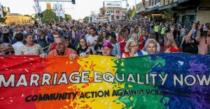 Is there a tipping point for changing public opinion?  An image of a rally for legalizing same-sex marriage in Australia