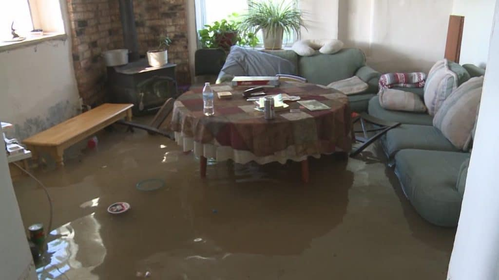 Flood damage inside a home